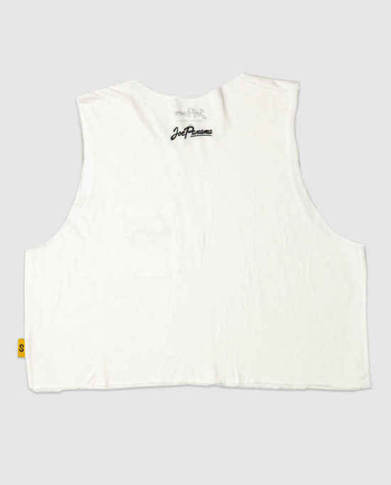 Cross Map Pocket Crop Top White